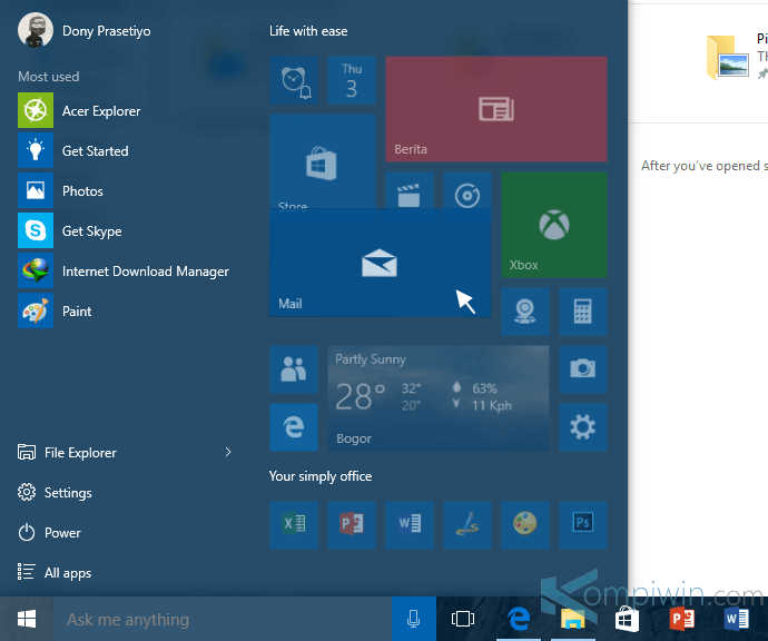 cara mengubah tampilan start menu windows 10 7