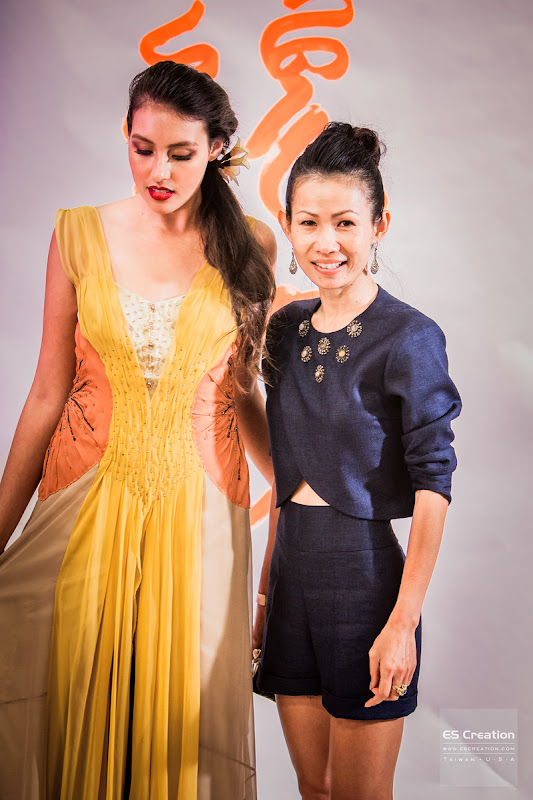Noy Chanthavongsa and her design. Photo by Simon Fu of ES Creation.