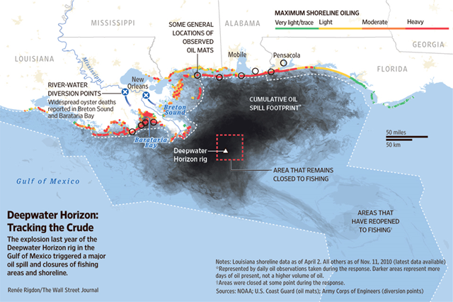 Map showing the extent of the BP Deepwater Horizon oil spill in the Gulf of Mexico on 2 April 2010. Graphic: Renée Rigdon / The Wall Street Journal