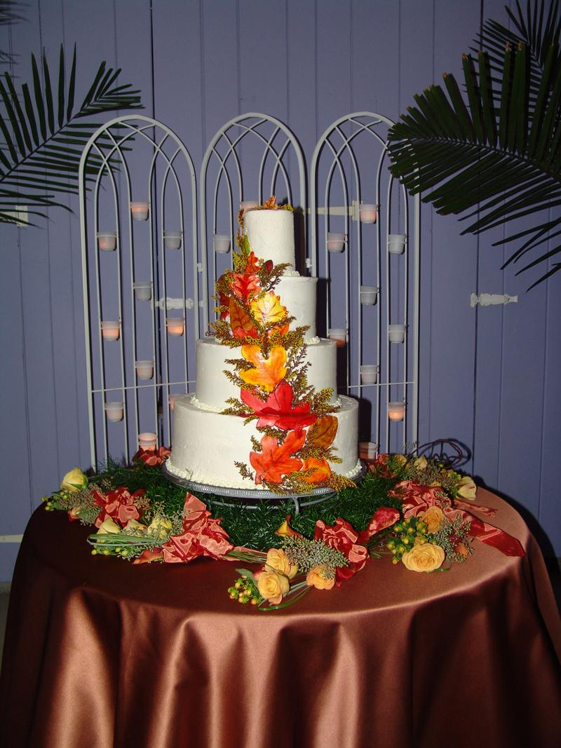 Fall Leaf Wedding Cake