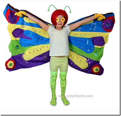 Disfraz casero de oruga, larva y mariposa
