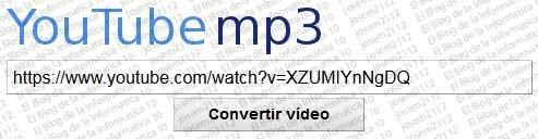 Convertir vídeos youtube a MP3 - pegar URL en la página