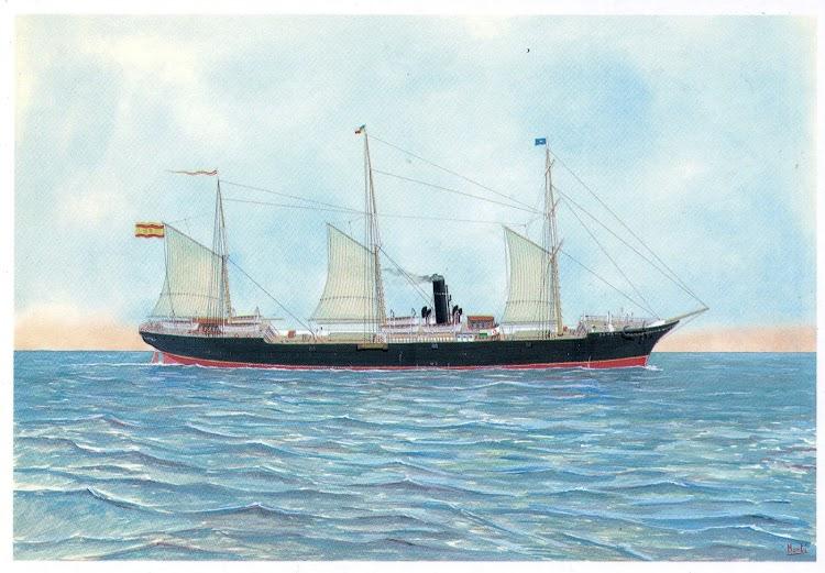 Vapor PANAMA con los colores de la Cia. Trasatlantica. Pintura de M. Marti Barrionuevo. Postal.jpg