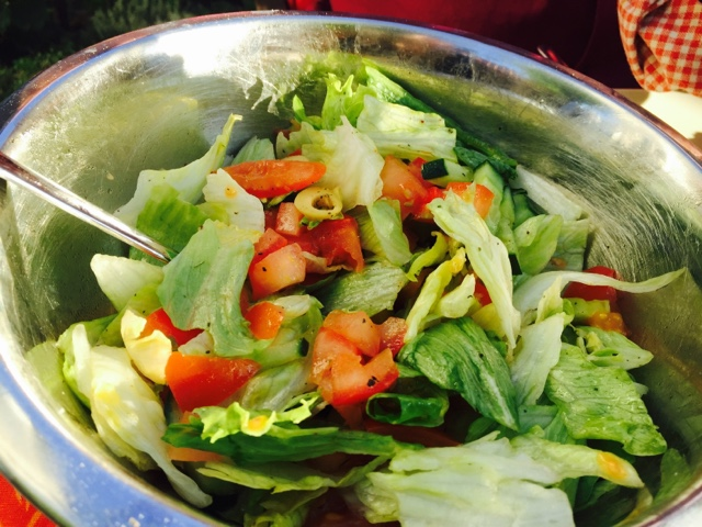 Mixed salad with green olives
