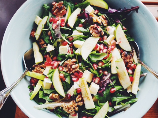 pomegranate, walnut, apple salad