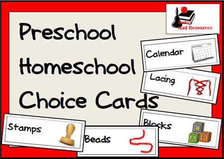 Free download - preschool choice or schedule cards from Raki's Rad Resources