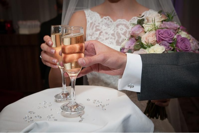 bride and groom, champagne, wedding ceremony, wedding flowers