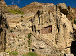 Monks' caves at Geghard Monastery, Armenia.