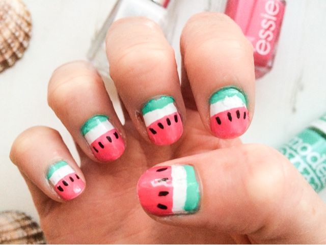 uk-beauty-fashion-blog-nailart-nail-art-nail-midweek-manicure-monday-manicure-watermelon-nails-essie-status-symbol-models-own-hyper-gel-turquoise-gloss-barry-m-gelly-hi-shine-cotton-barry-m-nail-art-pen-black-nailene-perfect-tips-french-manicure-tip-guides-summer-nails-pink-nails-green-nails-white-nails-watermelon-design-pinterest-inspired-inspiration