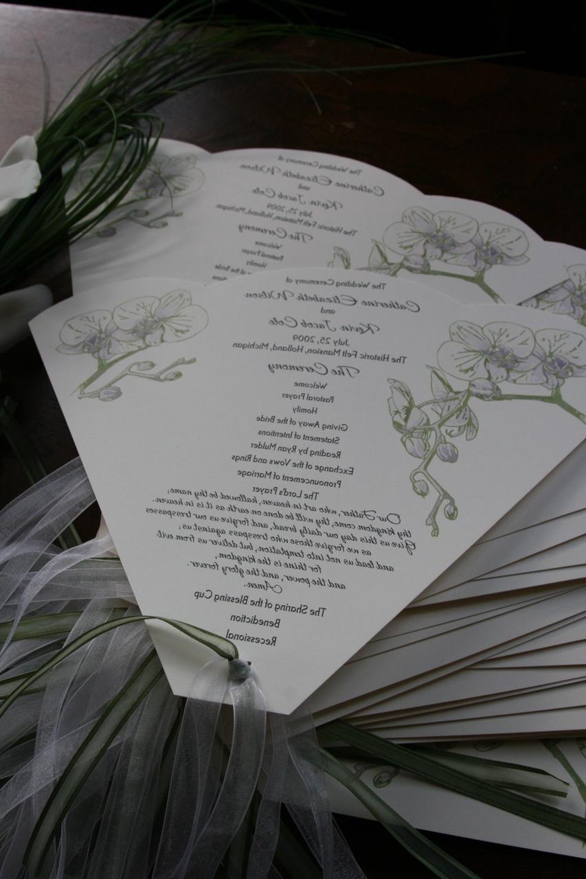 NLPRUSH custom order of 40 natural orchid Wedding Program Fans