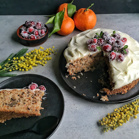 Carrot Cake with Cream Cheese Elderflower Frosting & Sugared Cranberries