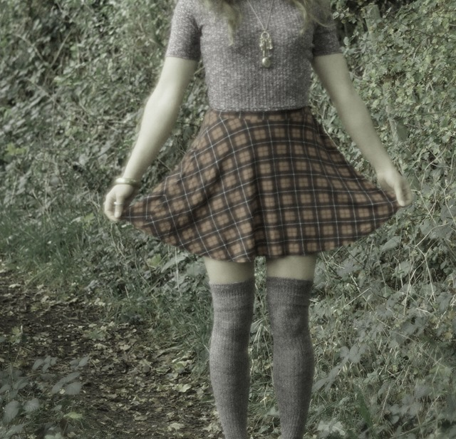 thigh socks and a miniskirt in the woods