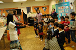 Doing hula with the children in Fukushima.