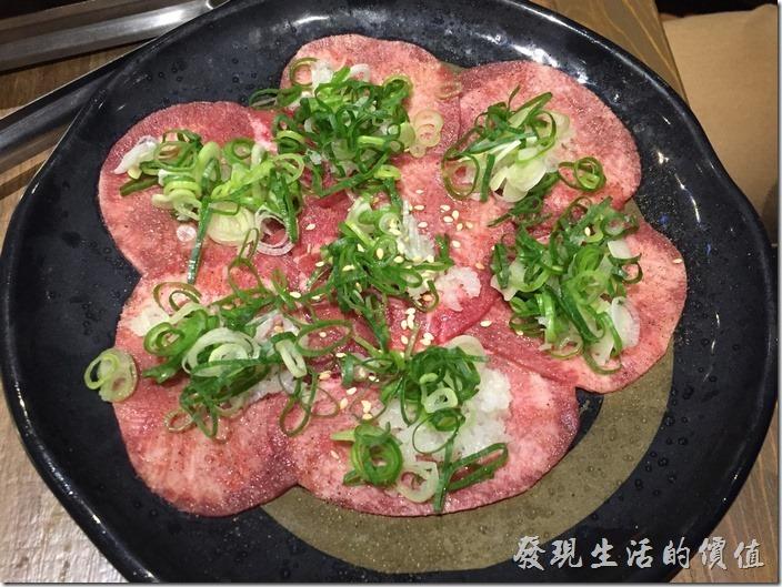 台北南港-乾杯燒烤。鹽蔥牛舌,NT160。