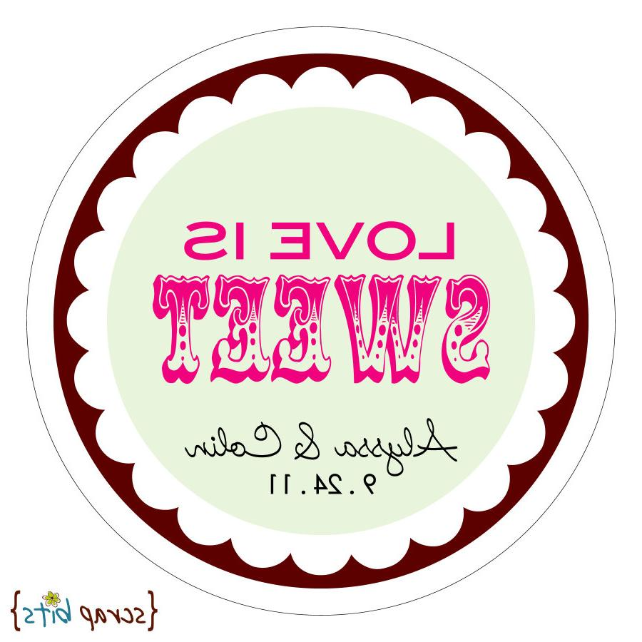 LOVE IS SWEET  circus  Round Stickers for Wedding Favors, Candy Buffet or