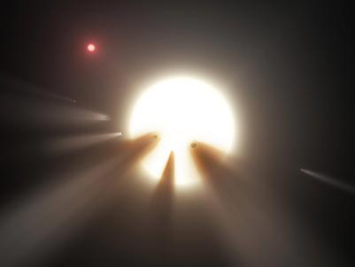 ilustração de estrela e fragmentos de cometa