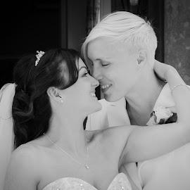 Just married by Vix Paine - Wedding Bride & Groom ( love, mrsandmrs, samesex, forever, wedding, memories, bride, groom, together )
