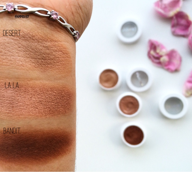 colourpop desert colourpop la la colourpop bandit swatches on medium tan indian nc40 skin