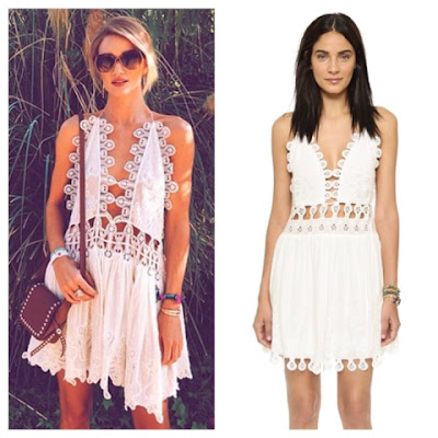 Rosie Huntington Whiteley in Chloe Peacock Embroidered Lace Open Front Mini Shift Dress