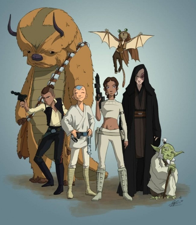 Avatar and Star Wars Mash Up Art by Dave Filoni