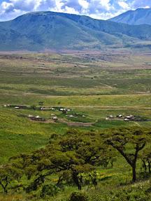 A Masaai village between Ngorongoro Crater and the Serengeti.