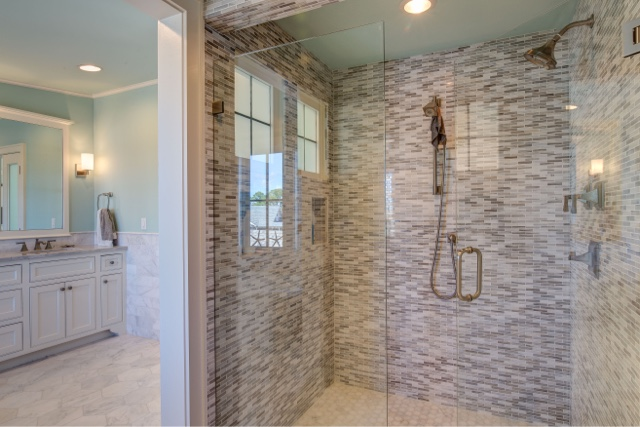 Between The Cool Curtain Fabrics And The Modern Tile Colors And Patterns,  These Beachy Bathrooms Steal The Show All Throughout The House. First, ...