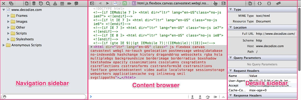 Anatomy Developer tools Safari 6