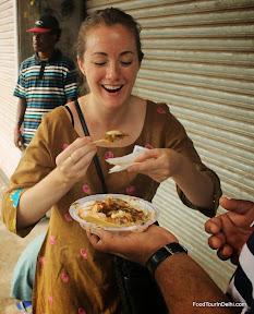 Eating Chaat http://indiafoodtour.com  http://foodtourindelhi.com
