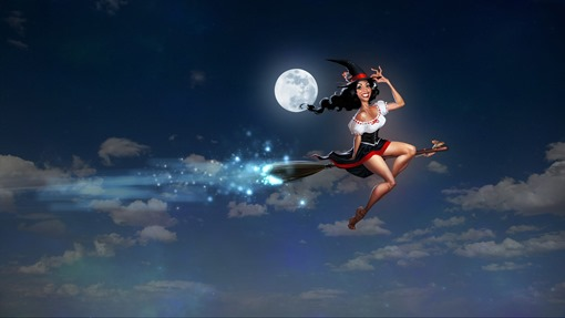 Ведьма в небе на метле