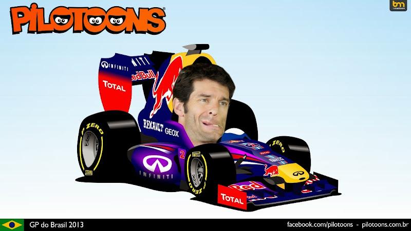 Марк Уэббер без шлема на Red Bull - комикс pilotoons по Гран-при Бразилии 2013