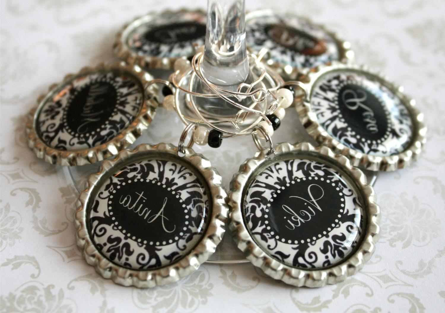 Wedding wine charms. Black and