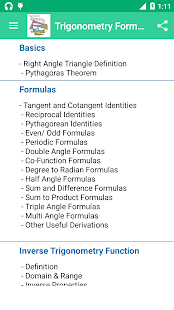 Trigonometry Reference Free - screenshot