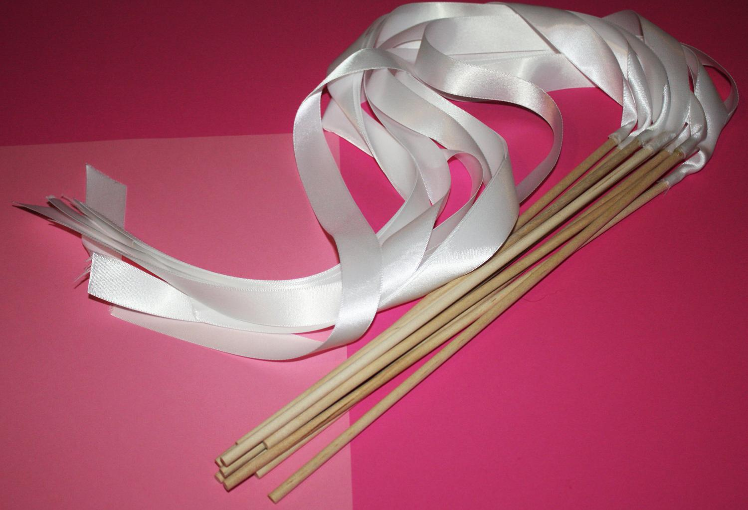 Satin Wedding Ribbon Wands - Custom Colors - Pack of 50 - Shown in Classic