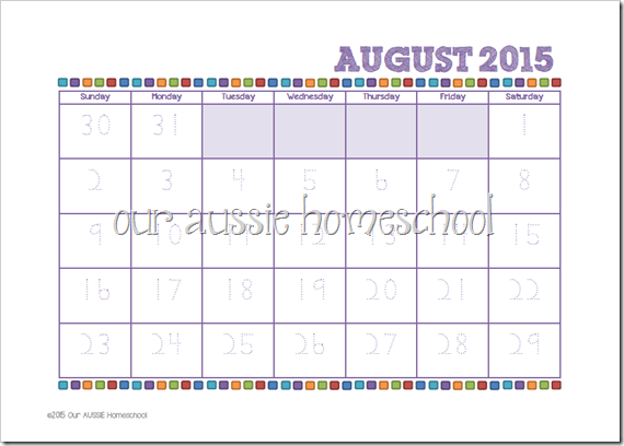 Colourful Calendars for 2016 | Our Aussie Homeschool