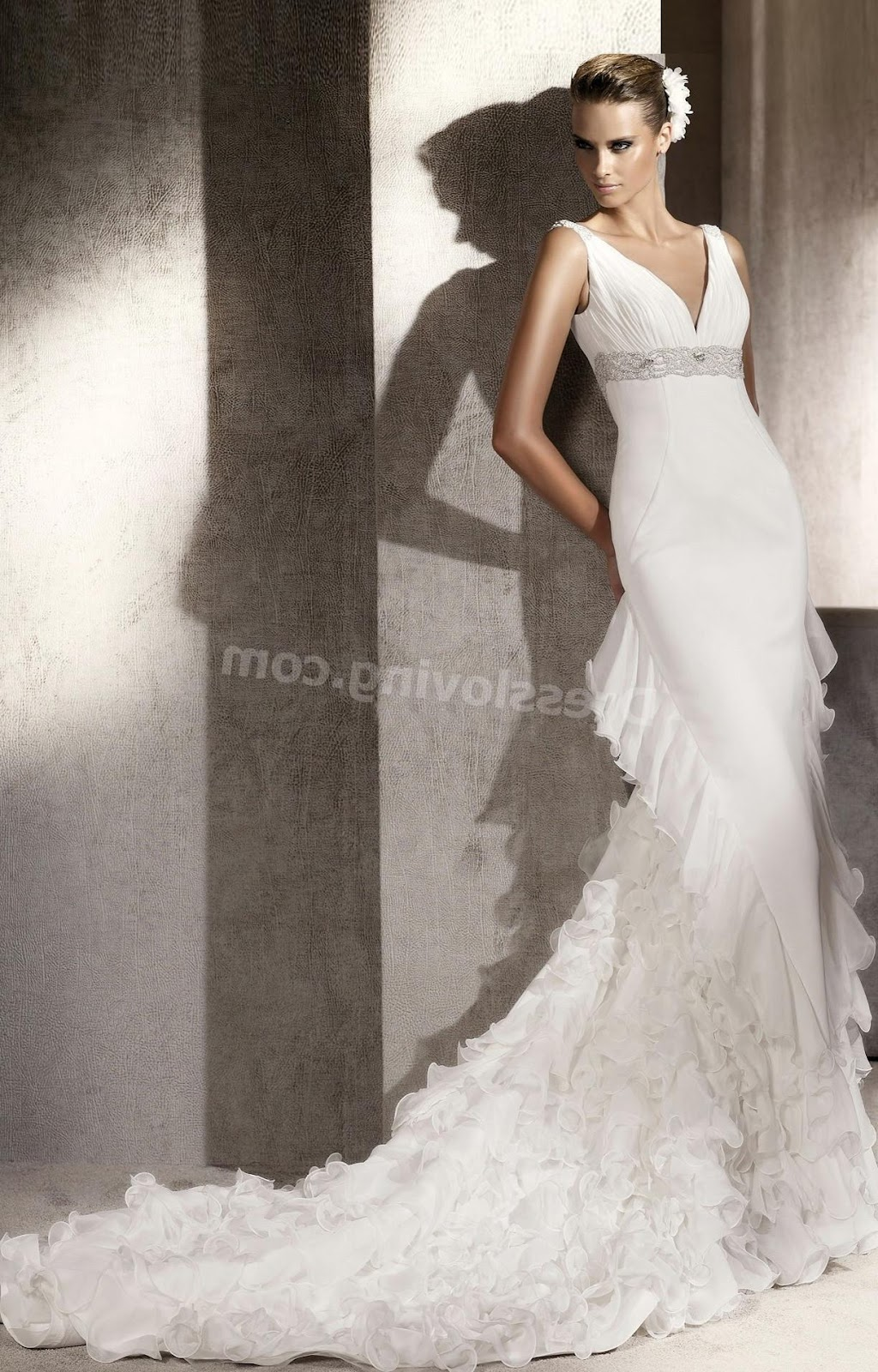 Romantic Satin Organza Empire Cathedral Train V neck backless wedding dress
