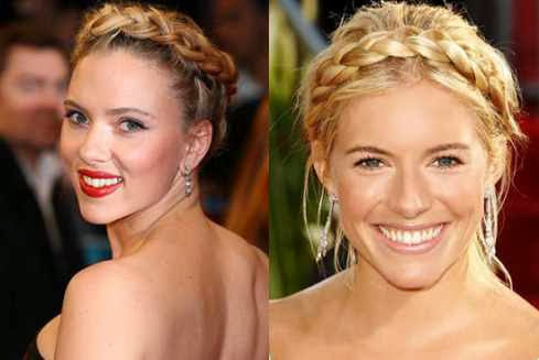 Hollywood Hairstyles - Scarlett Johansson And Sienna Miller With A Milkmaid Braided Bun Hairstyle
