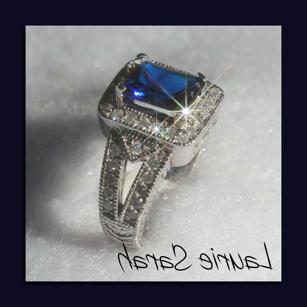 Emerald Cut Blue Sapphire and