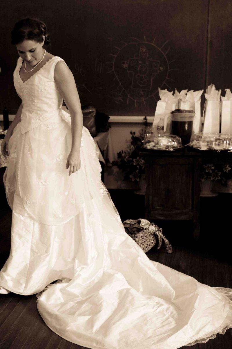wearing the wedding dress