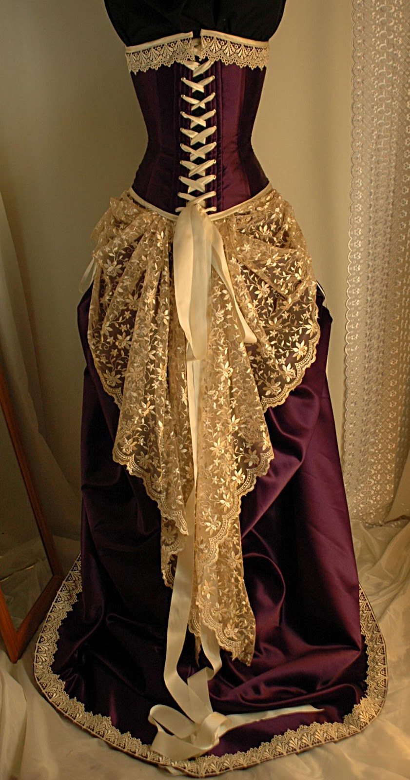 and purple wedding gown