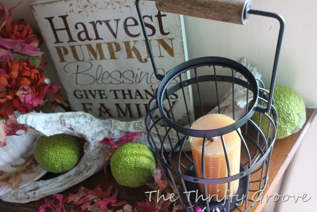 Looked through my home for things to use for a thrifty fall vignette. Add in a fee pretty free nature items and home decorating is made easy and thrifty!