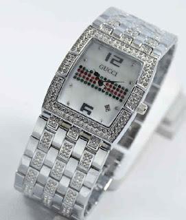 jam tangan Gucci tikar date full silver