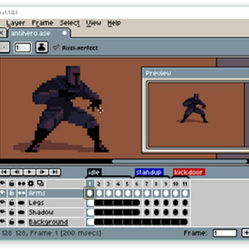 Aseprite es un muy atractivo editor de sprites animados.