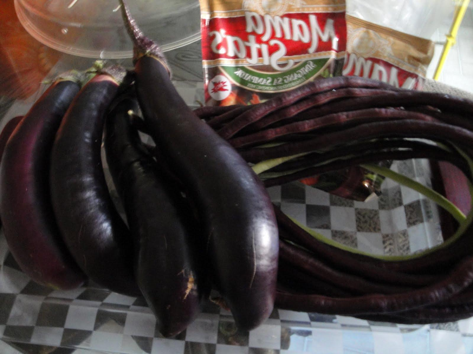freshly picked eggplants,