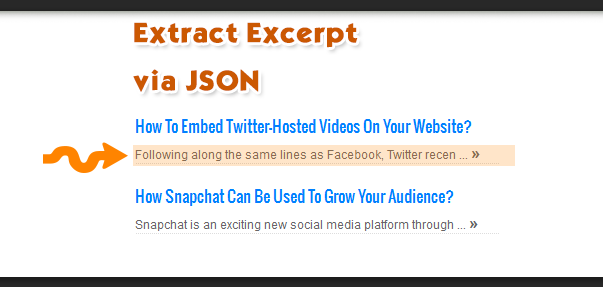 Extract excerpt via json