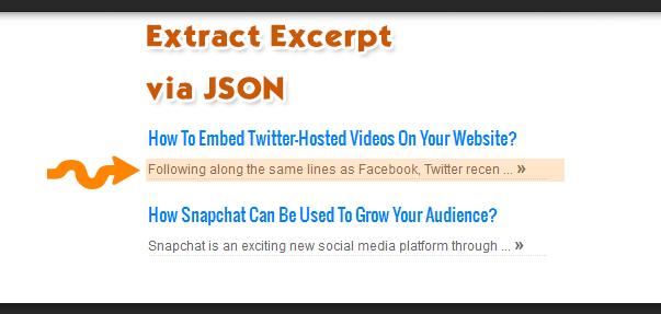 Extract excerpt via json