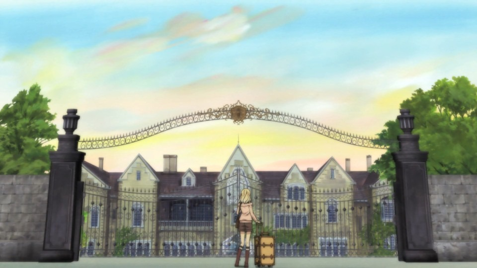 Yui stands small before a very large mansion and gate, rolling luggage in hand