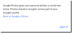 introductory pop up screen letting you go back to the google+ photos view