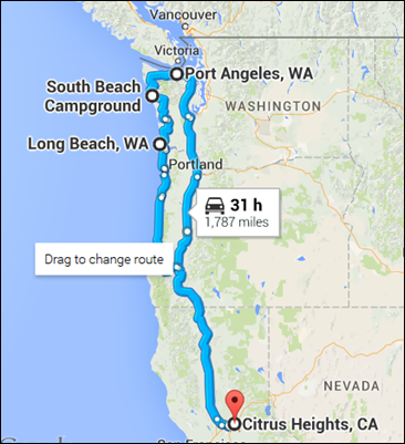 Map of latest trip -- California, Oregon, Washington and Victoria