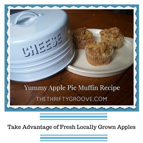 Yummy Apple pie Muffin Recipe. Made from fresh locally grown michigan apples. These are so tasty you will want to make a double batch so you can freeze one batch.  Read the recipe at thethriftygroove.com for this Fall treat!