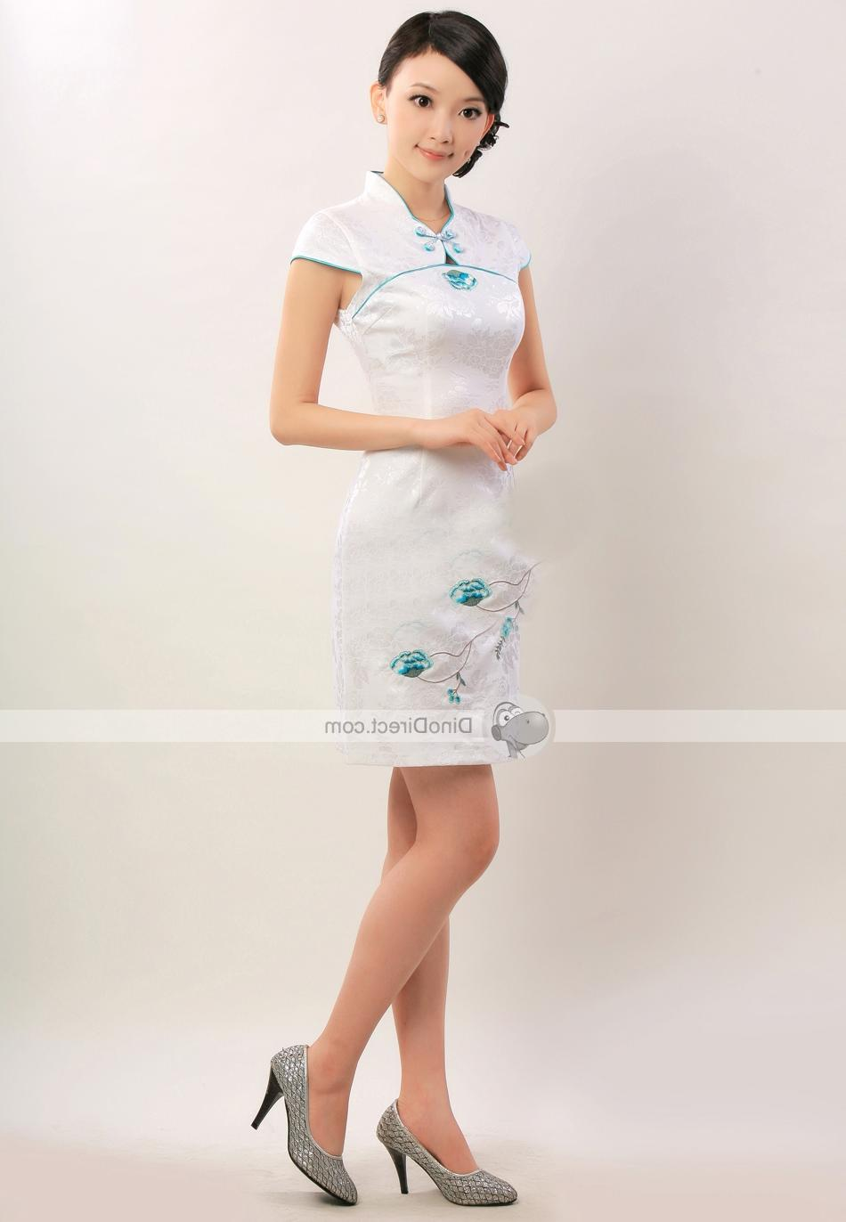 Cotton Flower Pattern Short Sleeve Women Cheongsam Dress